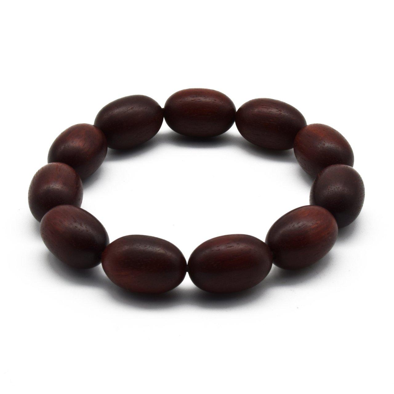 Zen Dear Unisex Natural African Blood Red Sandalwood Prayer Beads Tibetan Buddhism Mala Bracelet Necklace (12mm x 18mm Olives x 11 Beads)