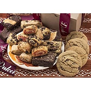 Dulcet Gift Baskets Classic Bakery Kraft Box Filled with soft bite Cookies, Chocolate Fudge Brownies and flaky filled Rugelah Perfect Gift for Teachers, Parents, Family, Him, Her & Corporate Office