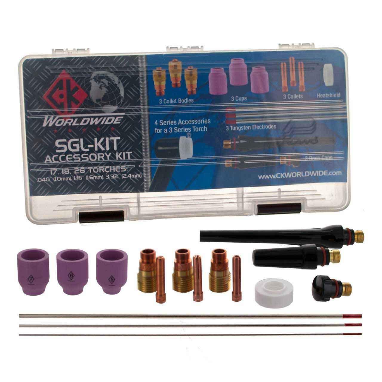 CK SGL-KIT Accessory Kit -Stubby Gas Lens. 4GL- .040, 1/16, 3/32 CK Worldwide
