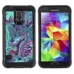 Hybrid Anti-Shock Defend Case for Samsung Galaxy S5 / Japanese Dragon Monster
