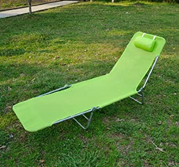 outsunny adjustable reclining beach sun lounge chair green