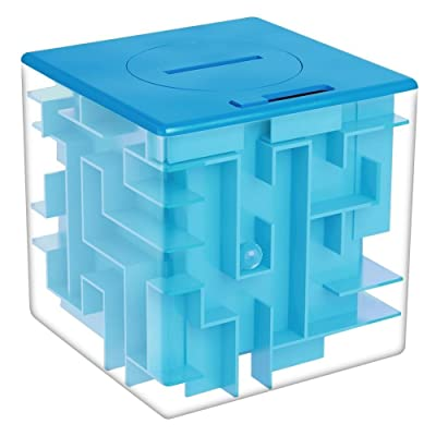 Twister.CK Money Maze Puzzle Box, Creative and Fun Way to Give Small Gift, Maze Money Bank for Kids as Brithday Holiday Gift (Blue)