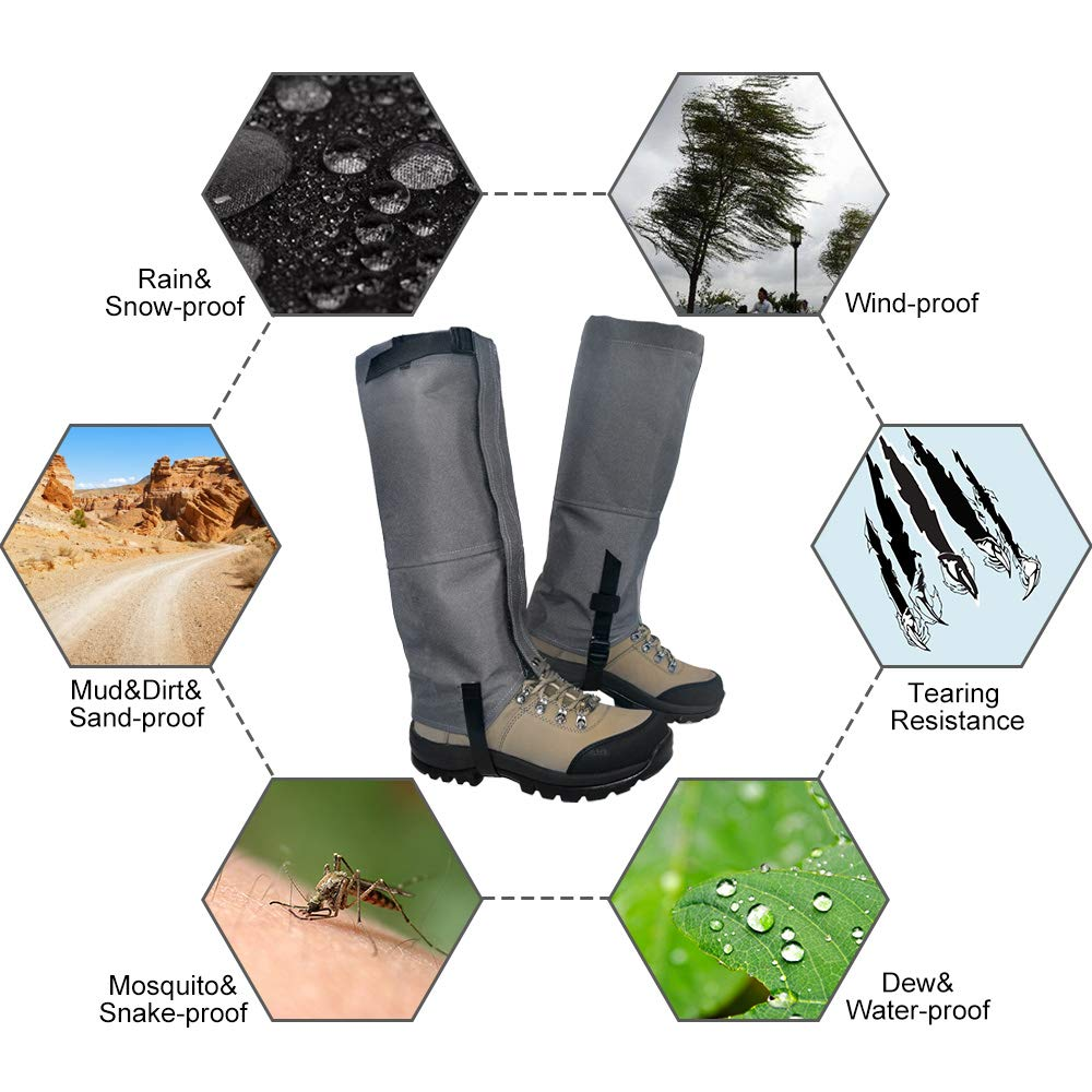 Leanking Leg Gaiters, Waterproof Snow Boot Gaiters 600D Anti-Tear Oxford Fabric Outdoor Waterproof Snow Leg Gaiters for Outdoor Hiking Walking Hunting Climbing Mountain (Gray, S) by Leanking (Image #4)