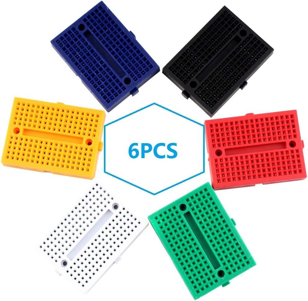 Eiechip Mini Breadboard kit 170 Points Mini Small solderless breadboard for Arduino Proto Shield 6 Colors 6Pcs