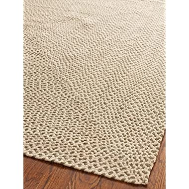 Safavieh Braided Collection BRD173A Hand Woven Beige and Brown Area Rug, 6 feet by 9 feet (6' x 9')