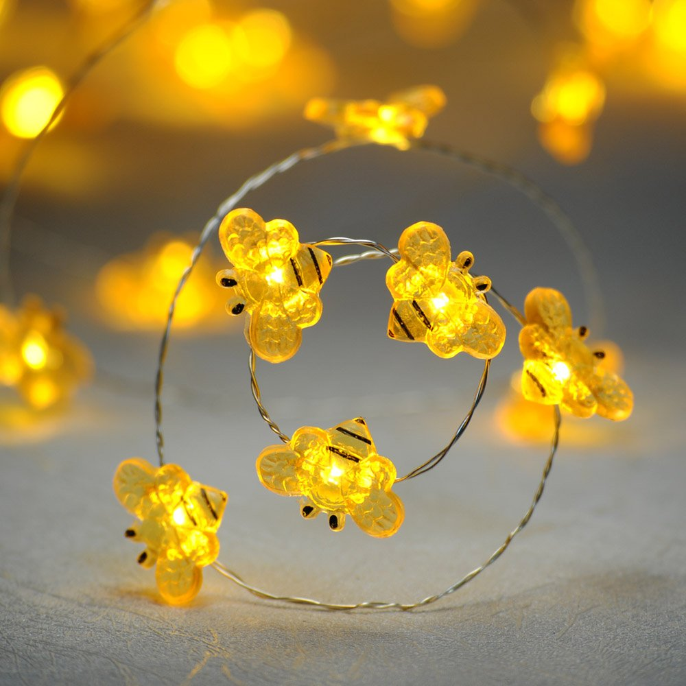 Impress Life Fall Decorations String Lights, Honey Bee Flexible silver Wire 10 ft 40 LED Battery Operated with Dimmer Timer Remote Control for Covered Outdoor, Indoor, Wedding, Autumn, Birthday Partie