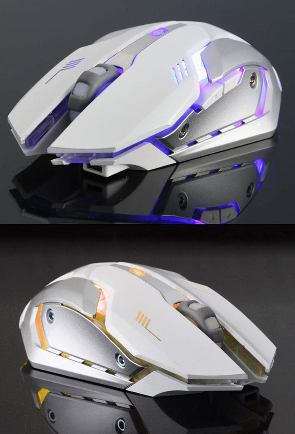 OhradWord Gaming Mouse Wireless Comfortable Grip Ergonomic Optical PC Computer Gaming Mice,Rechargeable Silent LED Backlit USB Optical Ergonomic Gaming Mouse