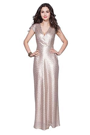 Dressesinstock Womens Paillette V Neck Cap Sleeve Long Prom Dress US4 Blue