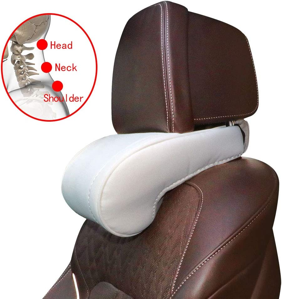 1 Unit White with White Stitching AMI PARTS Car Neck Support Pillow Soft Leather Headrest with Adjustable Strap for Tesla