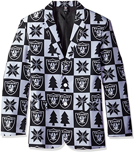 Oakland Raiders Patches Ugly Business Jacket - Mens Size ()