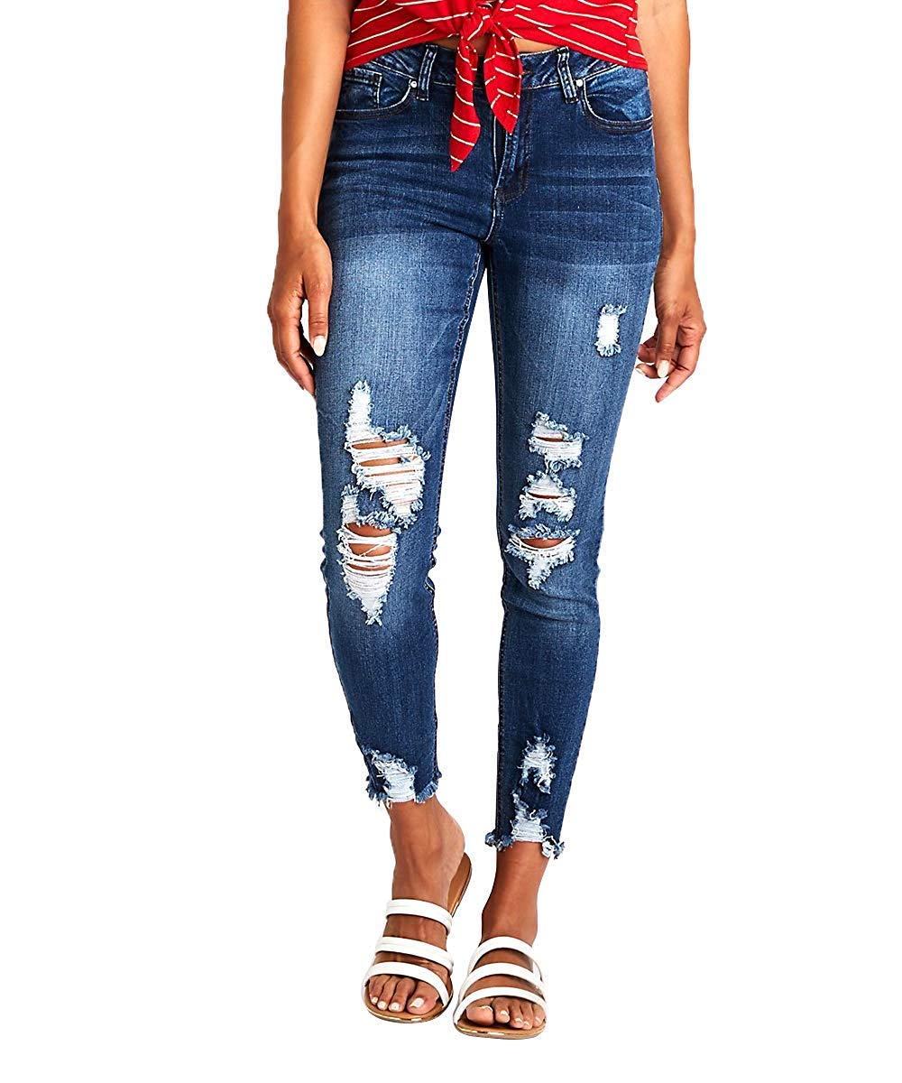 Nulibenna Womens Skinny Ripped Distressed Jeans Roll Up Stretchy Leggings Trendy Pants (2, Navy) by Nulibenna