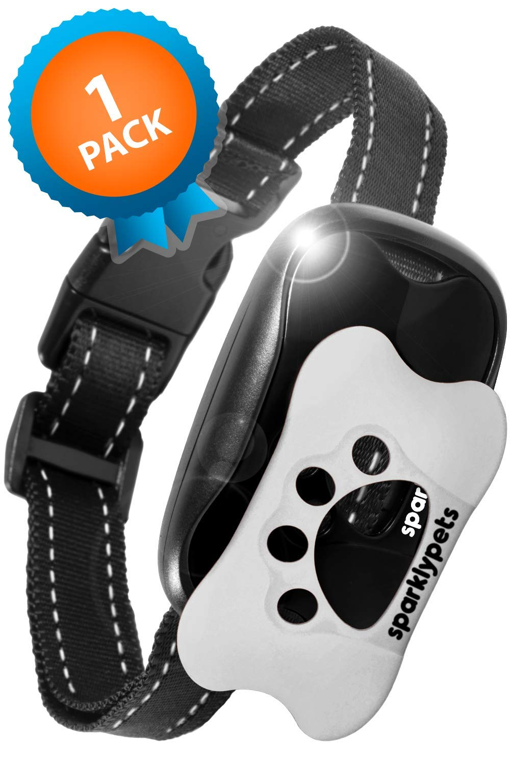 SparklyPets Humane Dog Bark Collar | Anti Barking Training Collar | Vibrating, No Shock Stop Barking for Small Medium Large Dogs | (White and Black 1 Pack) (White and Black 1 Pack) by SparklyPets