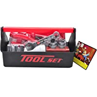 Little Treasures My First Toolbox with Fun Tools for JR Fixer Man's Pretend Play Toy Set, Includes Hand Saw/Screwdriver/Wrench/Pliers/Hammer/Square/Nuts and Bolts