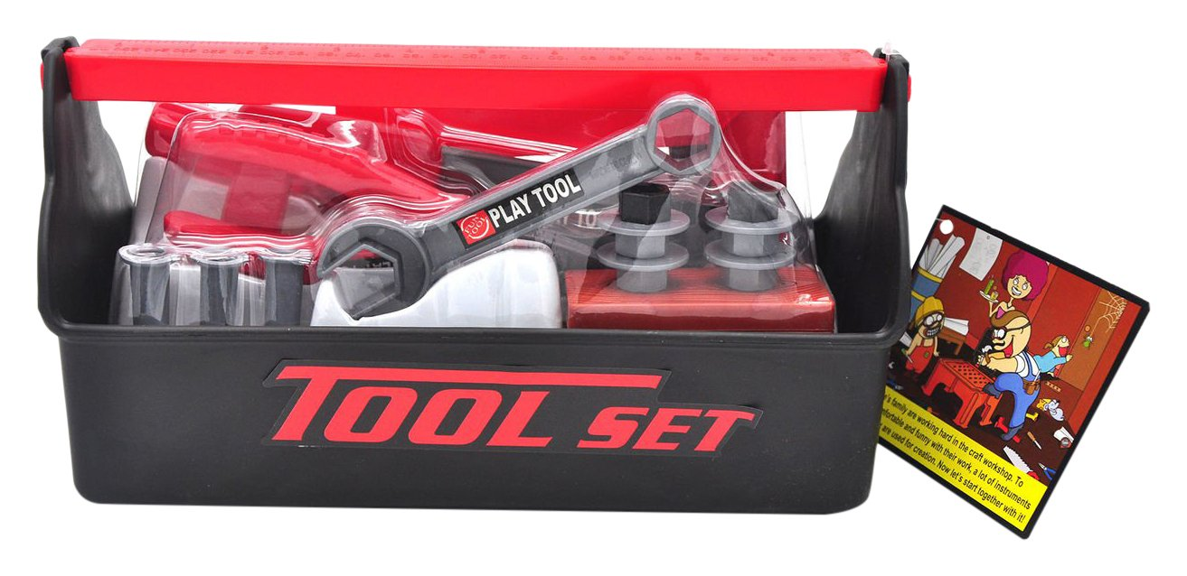Little Treasures My First Toolbox with fun Tools for a Jr fixer man's pretend play toy set - Includes a hand saw, screwdriver, wrench, pliers, hammer, square, nuts and bolts for a child engineer T115A