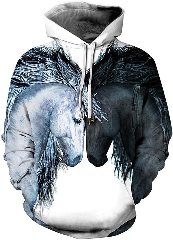 Dsti Animal Sweat /À Capuche 3D Cheval Imprim/é Sweatshirts Drawstring Pulls Hoodies Manches Longues avec Poche Hommes Femmes,S//m