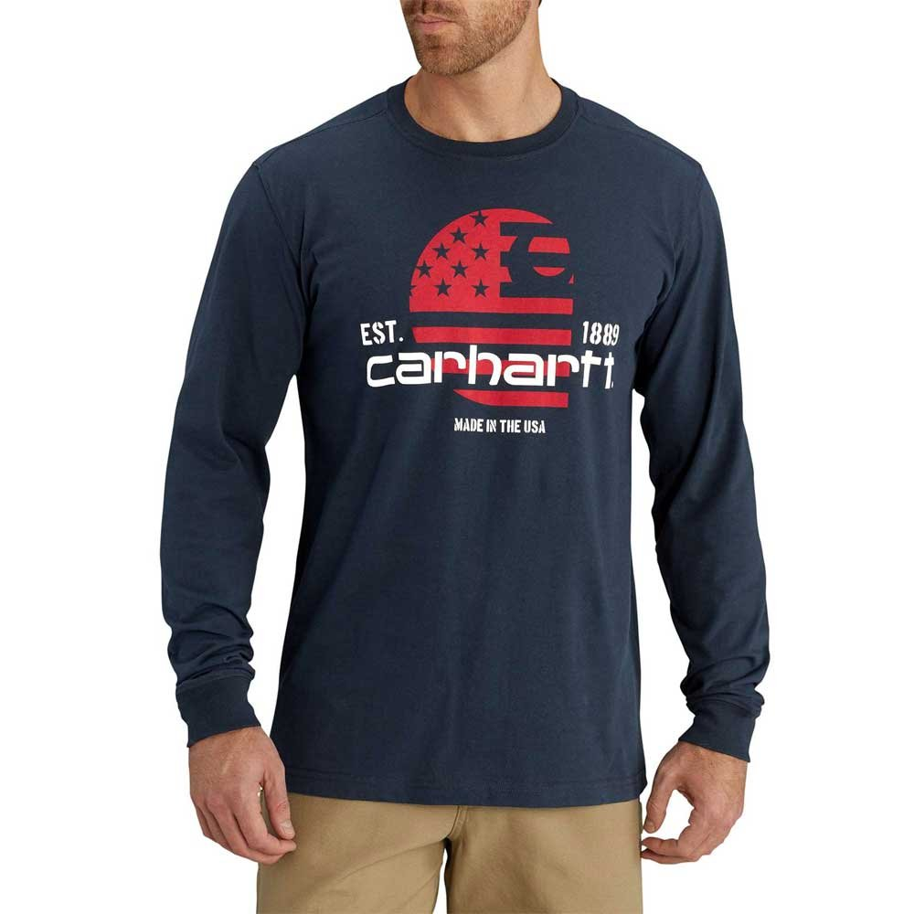 Carhartt Men's Lubbock Graphic Filled Flag Long Sleeve T-Shirt, Navy, Small