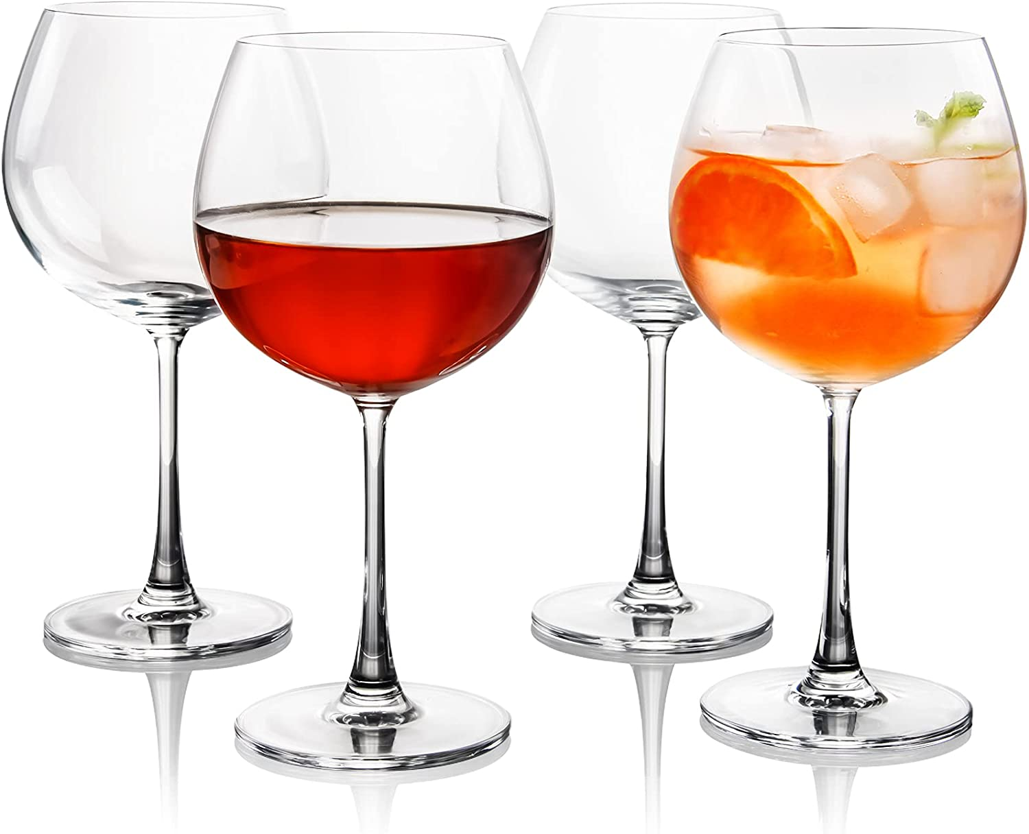 FAWLES Crystal Red Wine Glasses Set of 4, 23 oz (640 ml) Balloon Wine Goblets Set, Gin and Tonic Glasses Set, Perfect Gifts for Housewarming, Wedding and Anniversary