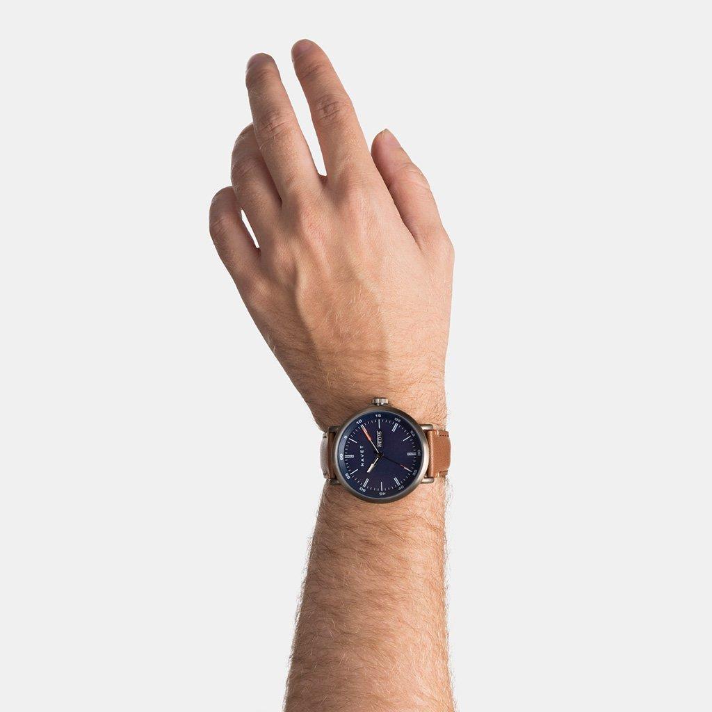 HAVET | Reloj de hombre Stabben de acero color khaki y correa piel marrón: Amazon.es: Relojes