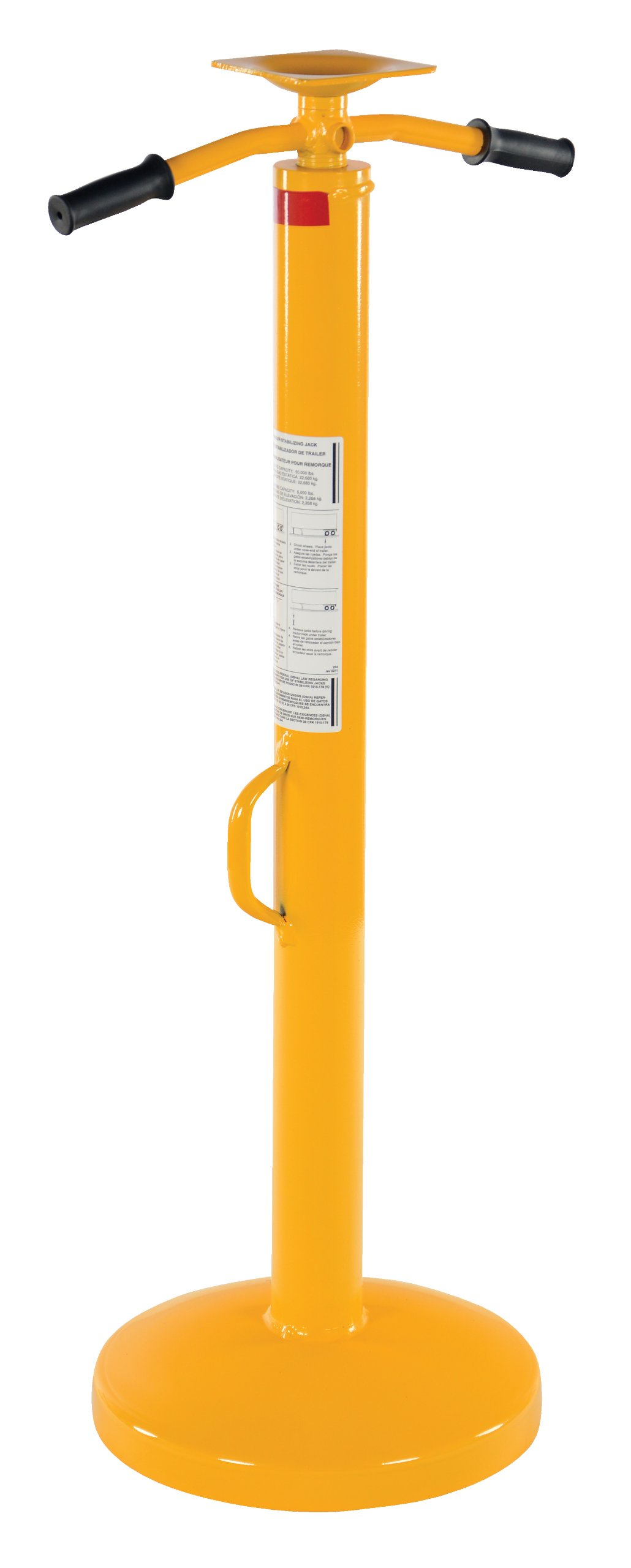 Vestil SJ-35-2H Steel Economy Trailer Stabilizing Jack with Powder Coat Safety Yellow Finish, 50000 lbs Capacity