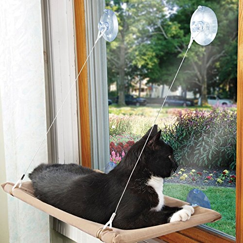 Meter.llc Meow Town Kitty Window Lounger for Cats and Kittens - Brown 20½