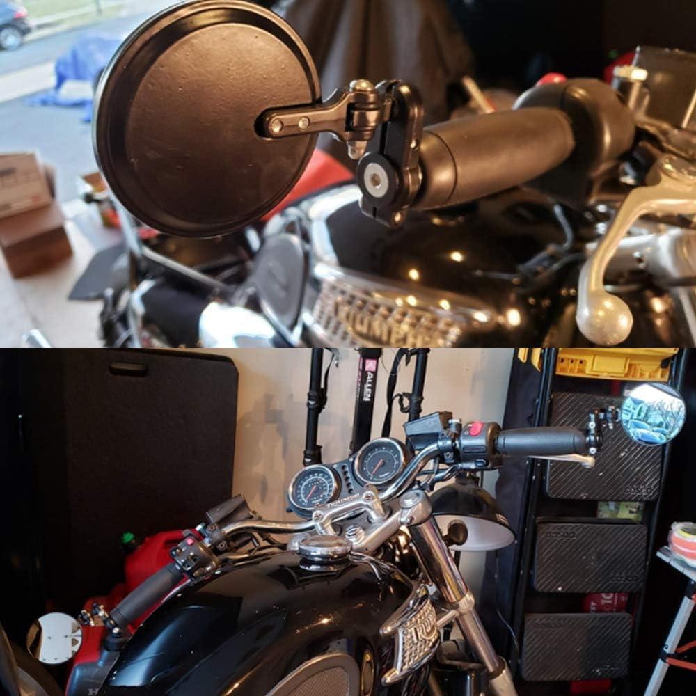 Universal Motorcycle Rear View Mirrors Folding Convex Round Bar End handlebar Side Mirrors For Suzuki Yamaha Harley Davidson Moto Guzzi Honda Kawasaki and More