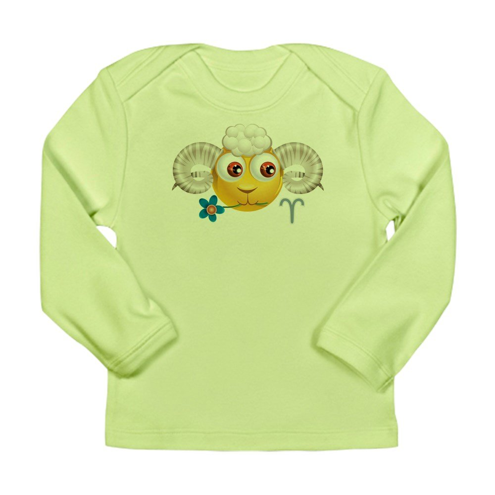 Truly Teague Long Sleeve Infant T-Shirt Smiley Face Zodiac Aries Kiwi 0 To 3 Months