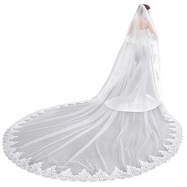 Kengtong Spitze Applique Lange Hochzeit Schleier Brautschleier mit Kamm