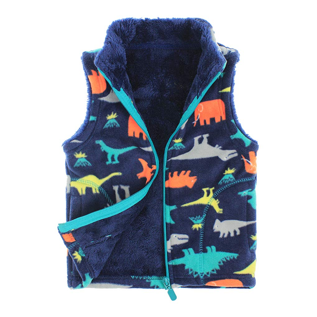 Uobzyaq Little Boys Winter Warm Dino Fleece Vest Sleeveless Jacket Zipper Up Waistcoat