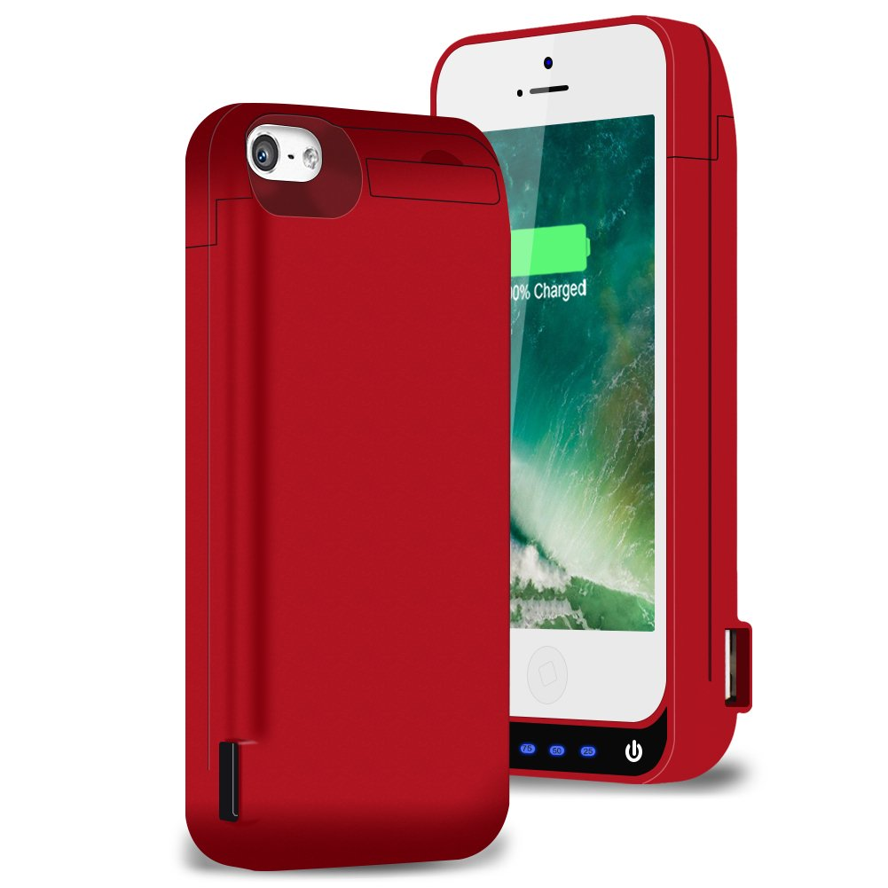 iPhone 5 / 5S / 5C / SE Charging Case, AexPower Upgraded 4800mah External Battery Backup Protective Cover Juice Power Bank Charger Case for iPhone SE / 5S / 5C / 5 Extended Battery Case- Red