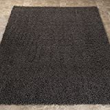 Sweet Home Stores Cozy Shag Collection Solid Contemporary Living and Bedroom Soft Shaggy Area Rug, 5 feet by 7 feet  W, Charcoal Grey