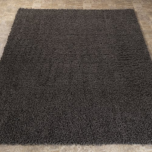 Sweet Home Stores Cozy Shag Collection Charcoal Solid Shag Rug, 7'10''W x 9'10''L, Gray by Sweet Home Stores