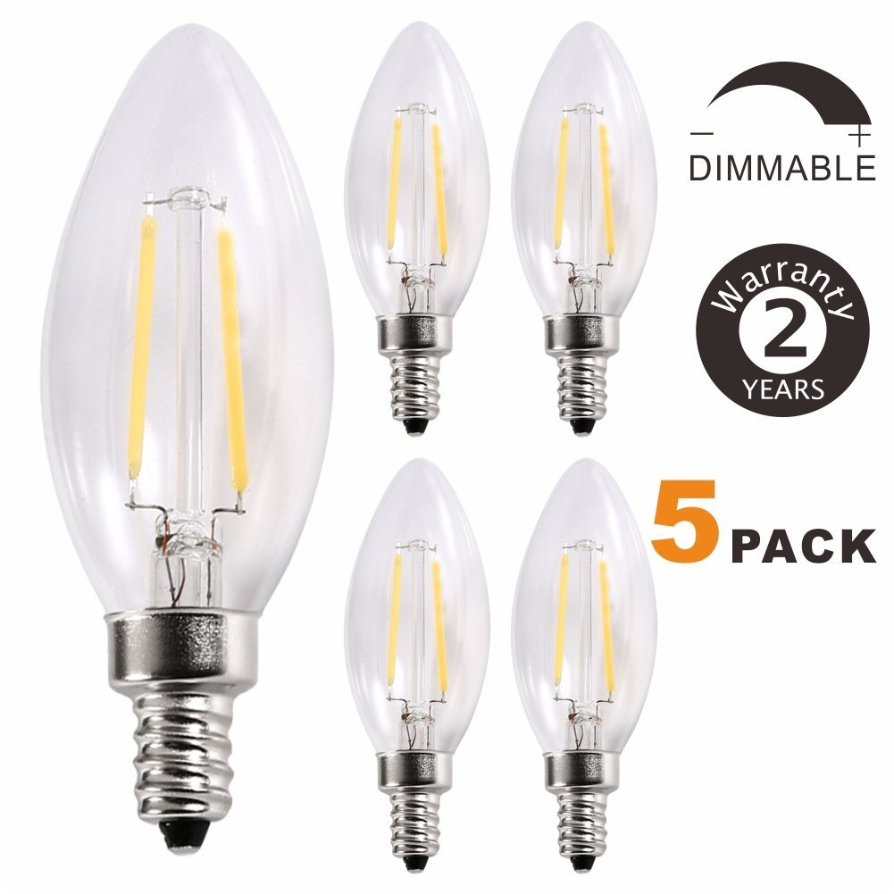 20W Incandescent Equivalent ,E12 Base Lamp,360/°Beam Angle,220lm,3000K,Pack of 5 V TOP Lighting C35 Edison Blunt Tip Filament Candelabra LED Bulb,Dimmable LED Candle Bulbs,2W