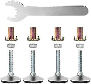 4 Set Swivel Adjustable Leveling Feet, Heavy Duty Furniture Table Legs Swivel Leveler Feet, Adjustable Leveling Legs Glide for Tables Chairs Cabinets (2