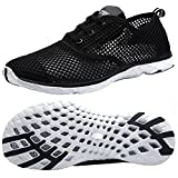 Women's Quick Drying Aqua Water Shoes Summer Beach Running Shoes Walking Sandals Swim Sneakers Yoga Footwear Sport Breathable Mesh Slip On Athletic Water Shoes Ladies Size 9 10 11 12 Black