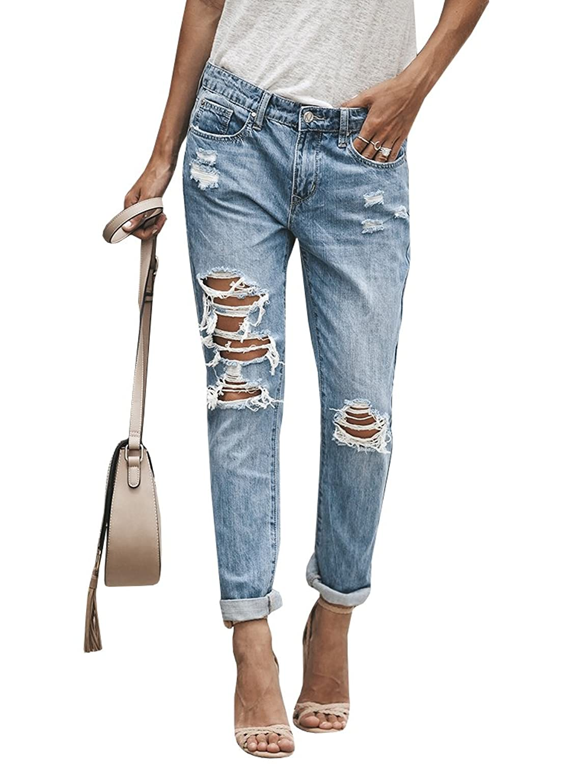 69ef9487c7 【Features】Women\'s juniors jeans. Ripped design is still popular and  fashinable nowadays. Roll up stretch style makes you more comfortable when  wearing.