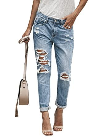 0102be864f Amazon.com  Geckatte Womens Juniors Ripped Distressed Boyfriend Jeans Roll  Up Ankle Denim Pants  Clothing