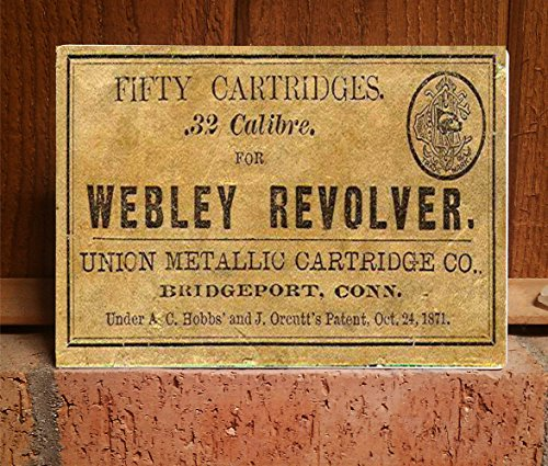 Reproduction of Vintage Ammo Box Lid for Webley Revolver .32 Cal on 5