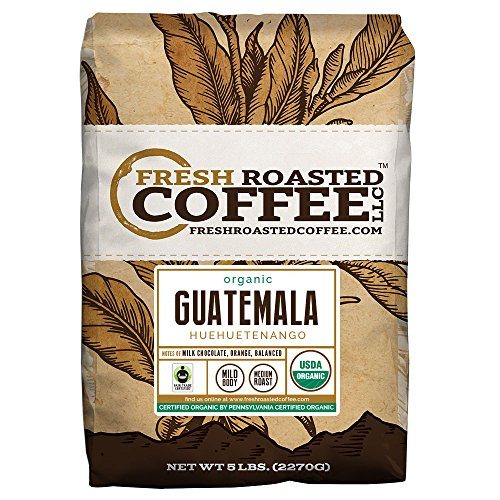 Fresh Roasted Coffee LLC, Organic Guatemalan Huehuetenango Coffee, Medium Roast, USDA Organic, Fair Trade, Whole Bean, 5 Pound Bag (Fresh Roasted Coffee Llc Organic)
