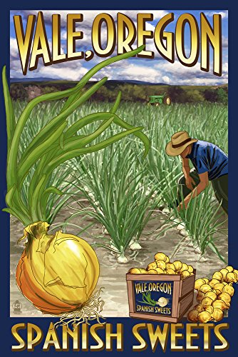 (Vale, Oregon - Spanish Sweets Onion Harvest (12x18 Signed Print Master Art Print w/Certificate of Authenticity - Wall Decor Travel Poster))