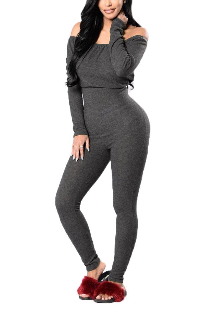SoloSummer Womens Off Shoulder Long Sleeve Pantsuits Jumpsuit S Dark Grey