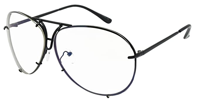 c3b2b83d28 Amazon.com  Oversized Retro Modern Cut Out Double Bar Nose Bridge No  Prescription Fashion Light Tint Clear Lens Aviator Glasses (Black