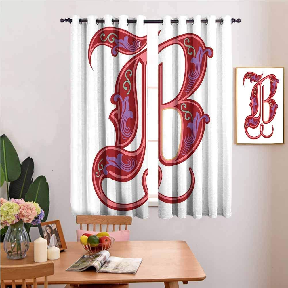 Amazon Com Dragon Vines Bedroom Insulation Curtain Home Curtain Colorful Mellow Design Capitalized Symbol B Second Letter Alphabet Abstract Gothic Bedroom With Dark Curtain W72 X L84 Set Of 2 Panels Home