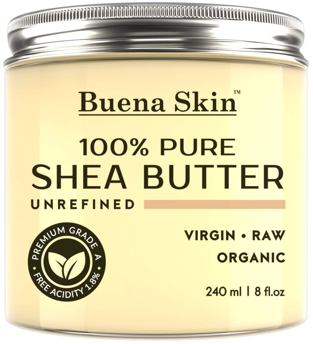 PURE Shea Butter – Raw African Organic Grade A Ivory Unrefined, Cold-Pressed – Great To Use Alone or DIY Body Butters, Lotions, Soaps, Eczema & Stretch Mark Products, From Ghana – By Buena Skin 8 oz