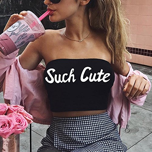 Sexy Fashion Womens Tank Tops,Letter Print Casual Tank Tops Vest Halter Slim Tube top Vest Black by AOmahh-vest (Image #3)