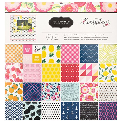 Jen Hadfield Everyday Patterned Paper Pad by Pebbles Inc. | 12 x 12-inch pad | 48 sheets of medium-weight paper in various -