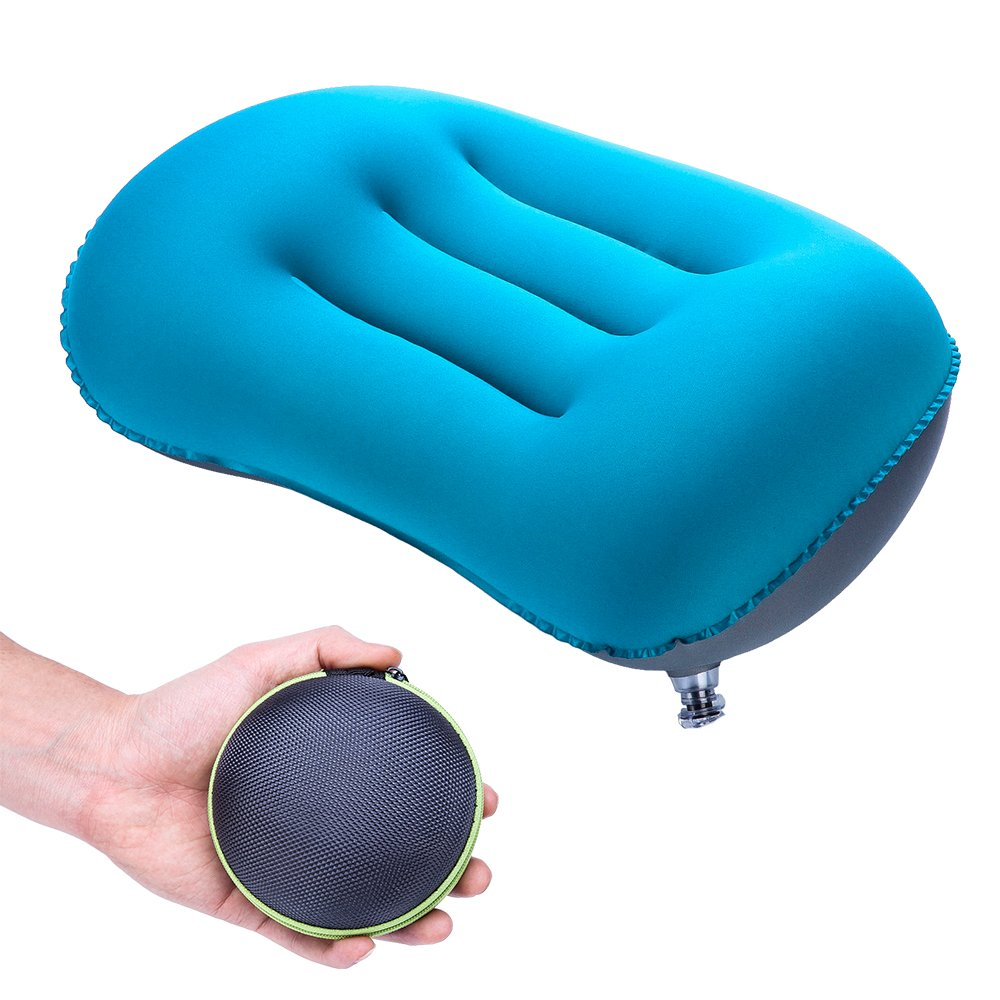 FMS Ultralight Inflatable Camping Travel Pillow, Compressible Portable Air Pillow with Storage Box, Provide Good Night Sleep Neck Support and Car Airplane Lumbar Support, Blue (Rectangle Pillow Blue)