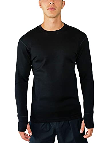 Woolx Glacier - Men's Merino Wool Base Layer Top - Heavyweight Baselayer Crew Shirt For Extreme Warmth
