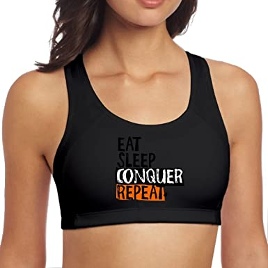 6d7f71e0d485f Women s Sports Bra Eat Sleep Conquer Repeat Breathable Sleeveless Yoga Vest  at Amazon Women s Clothing store