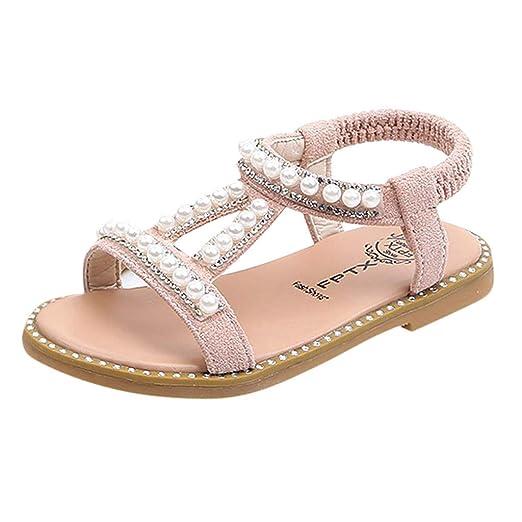 2f4b700607b Amazon.com  Slide Sandals Kids Girls Pearl Crystal Single Princess ...