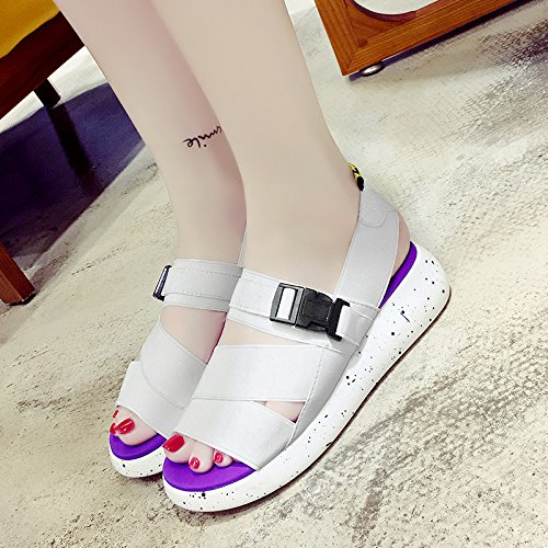 RUGAI-UE Sandalias Verano Mujer Casual suela gruesa Toe sandalias Mujer Elastic zapatos cómodos para estudiantes White
